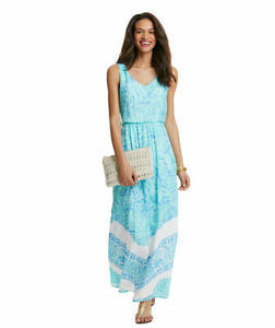 Vineyard Vines Palm Leaf Scarf Print Maxi Dress